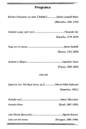 Recital Marcos Dalmacio - Programa (Divulgação)